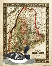 Common Loon Lake Maine State Map Art Print Day Festival Cabin Decor Decoy MAP20