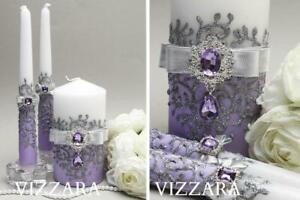 Unity candle sets Lavender wedding Wedding unity candle set Lavender and silver