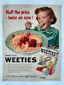 Vintage Australian advertising 1957 ad WEETIES WHEAT FLAKES BREAKFAST CEREAL