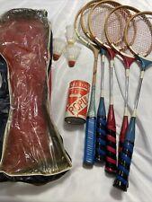 Vintage Set Of Pro-sports Mixed Wood Badminton Racquets And Carlton Shuttlecocks