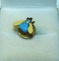 Dainty Blue White Enamel Honey Bumble Bee Insect Brooch Lapel Push Pin  3k 52