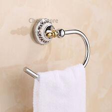 Chrome Brass Bathroom Accessory Towel Ring Hanger Wall Mount Round Towel Rack