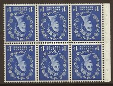 Sb41a 1d Wilding booklet pane Blue phos on Cream perf type Ie Top Unmounted Mnt