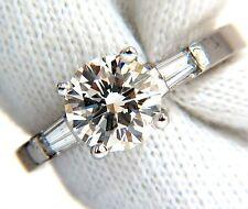 GIA 1.51ct. Round Brilliant Excellent cut diamond & .30ct baguette ring Platinum