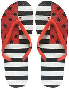 Fresko Womens USA Flag Flip Flop Sandals - Red, Black, and White, US Size 6 (M)