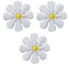 "White Daisy Flower Applique Patch 1"" (3-Pack, Mini, Iron on)"