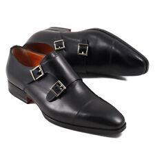 NIB $895 SANTONI Black Double Buckle Monk Strap Dress Shoes US 6 D