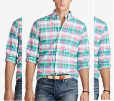Polo Ralph Lauren Men's Plaid Oxford Shirt , Green/Pink, Size M, MSRP $89.5