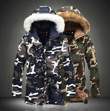 Men Camo Warm Fur Hooded Winter Quilted Coat Long Parka Thicken Jacket Casual