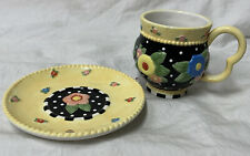 "New ListingMary Engelbreit Retired 2001 Tea Cup & Saucer Me Ink ""Tea Blossoms� Colorful!"