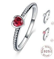 Mujeres 925 Sterling Silver Anillo Apilable Pequeño Corazón Rojo Rosa Claro Colores X 3