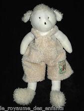 Doudou Mouton Agneau blanc écru en salopette La Grande Famille Moulin Roty 30 cm