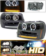 Fits Xenon 02-05 Trailblazer CCFL Black Projector Headlights