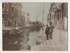 PHOTO ANCIENNE VENISE ITALIE  Vers 1900 Photo réhaussée peinte Coloriée Gondole