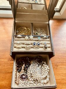 Job Lot of Mixed  Vintage/ Modern Costume Jewellery Pieces and Box