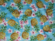 PINEAPPLES PINEAPPLE REALISTIC TROPICAL HIBISCUS PINK TEAL COTTON FABRIC FQ