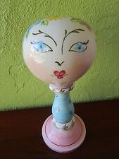 Mannequin Head Ceramic Pottery Italy Hand Painted Blue Daisy Eyes Numbered Hat