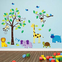 Monkey Tree Birds Wall Stickers Jungle Animal Nursery Children Kids Wall Sticker