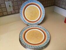 Formation Enamelware Charger Dinner Plates Yellow Center Metal Ring Set of 6