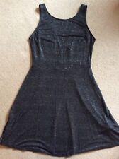 SEXY H&M HENNES DIVIDED BLACK SPARKLY LUREX SHORT SLEEVELESS DRESS SIZE 12 14