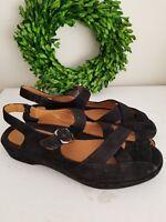 EARTHIES Black Suede MALINA Slingback PEEP TOE Earth Shoes SANDALS Sz 7.5 👣ks3