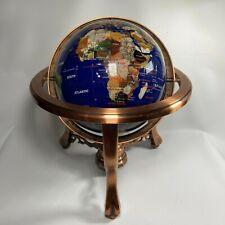 """Vintage Semi Precious Stone Inlaid 13"""" Globe Lapis Brass Stand with Compass rare"""