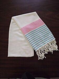 Turkish Cotton & Bamboo Bath Beach Towel Peshtemal Pink Turquoise Marina Series