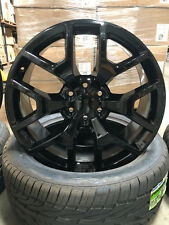 24 GMC Sierra Style Wheels Gloss Black Rims and Tires Sierra Tahoe Yukon Denali