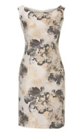 VERA MONT Printed Satin Dress White Ladies Size UK 14 *REF106