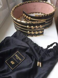 BALMAIN x H&M Gold Black Patent Wide Waist Belt M/L NEW
