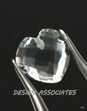 DIAMOND QUARTZ 7 MM HEART CUT BRIOLETTE DRILLED ALL NATURAL AAA 2 PC SET