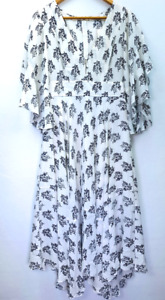 A.l.c Womens Jumpsuit White Black Floral V Neck Flutter Sleeve Back Zipper 8 New