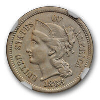 1888 3CN Three Cent Nickel Piece NGC AU 50 About Uncirculated Key Date