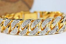 "FABULOUS CZ CURB LINK 7 5/8"" BRACELET 22K 24K Gold GP Thai Jewelry GT31"