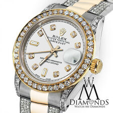 Ladies 26mm Rolex Oyster Perpetual Datejust Custom Diamonds White Dial Accent