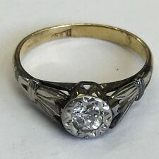 Vintage 18ct Solid Gold Solitaire Diamond Ring Size H