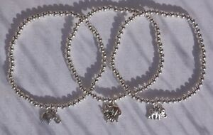 HANDMADE SILVER PLATED STACKING STRETCH BEAD BRACELET WITH ELEPHANT CHARM (034)