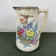 Scarce Antique 1800's Rose & Lily Cochran Glasgow Ceramic Pitcher