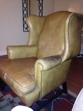 Biege Leather Wing Back Chair Studded Chippendale Style 100 years old in March