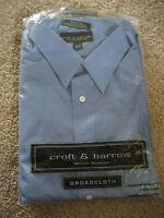 NEW Mens Croft & Barrow Wrinkle Resistant 15 1/2 32/33 Blue Dress Shirt