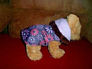 Dog Coat Gray With Flowers - Fleece Lined - Size XXSmall - New