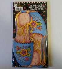 Mary Engelbreit 8 Die Cut Note Cards & Envelopes Sandals Floral Shoes Buttons