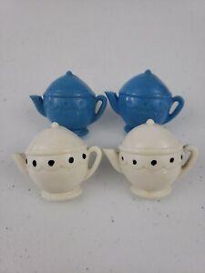 1950s Curtain Tie Backs Holders Push Pins 4 Plastic Teapots (2) Cream & (2) Blue