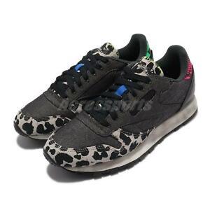 Reebok Classic Leather MU Cheetah Print Black Leopard Men Unisex Casual Q46337