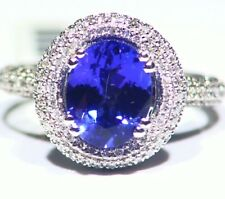 3.74CT 14K Gold Natural Tanzanite Diamond Vintage AAA Antique Engagement Ring