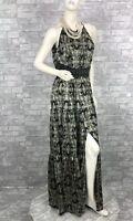 L'Agence New Runway Auth Black Gold 100% Silk Long Maxi Dress 4 6 US 42 IT S M