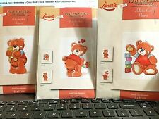 Lanarte lot of 3 BOLLY THE BEAR Counted Cross Stitch Kit Hugging Playing In love
