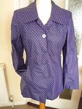 FAB rainproof jacket M&S Per Una lined blue white spot collar hip length 10