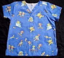 Women's Blue Fun Frogs Scrub Top Shirt  Size Medium  EUC