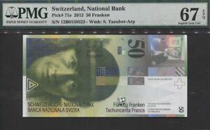TT PK 71e 2012 SWITZERLAND NATIONAL BANK 50 FRANKEN PMG 67 EPQ SUPERB GEM
